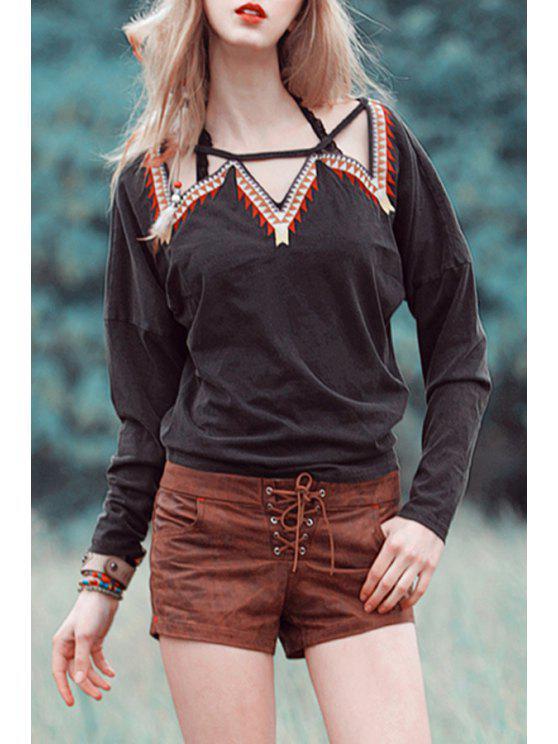 women Triangle Pattern Embroidery Long Sleeve T-Shirt - BLACK XS