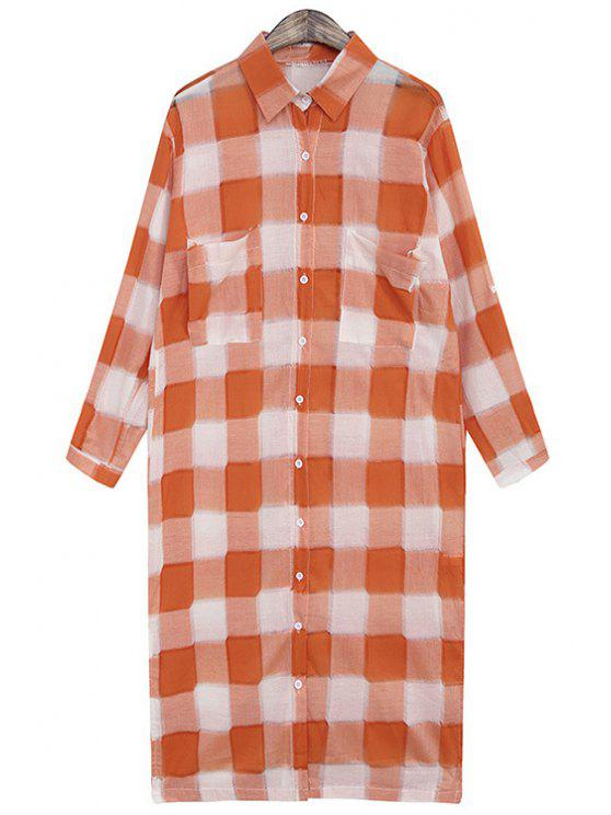 women's Plaid Single-Breasted Pocket Design Dress - ORANGE ONE SIZE(FIT SIZE XS TO M)