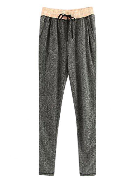 hot Gray Elastic Waist Narrow Feet Pants - GRAY S