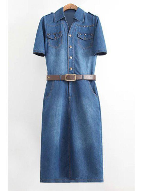 sale Denim Turn Down Collar Short Sleeve Dress - PURPLISH BLUE S