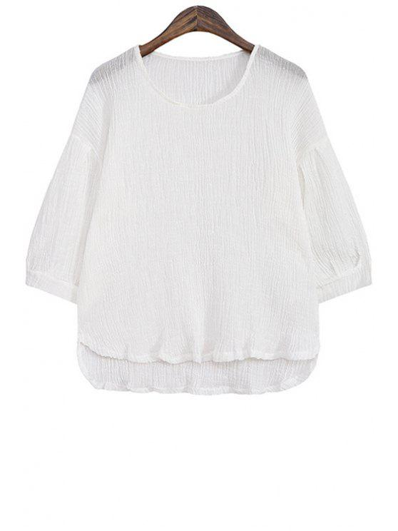 lady Solid Color High-Low Hem Linen Blouse - WHITE ONE SIZE(FIT SIZE XS TO M)