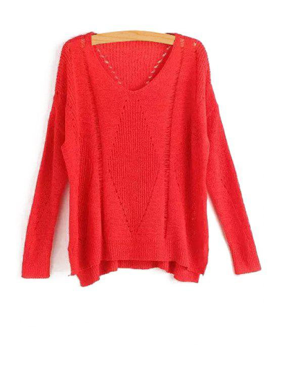 lady Pure Color Hollow Long Sleeve Sweater - RED ONE SIZE(FIT SIZE XS TO M)