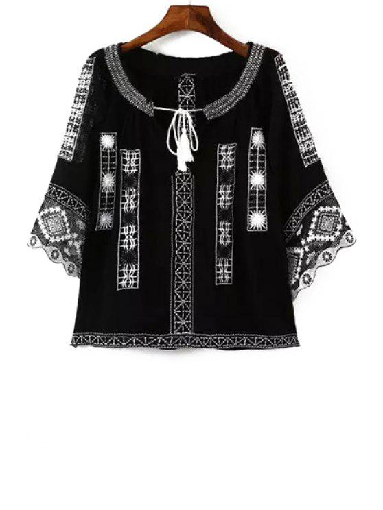 ladies Ethnic Embroidery 3/4 Sleeve Blouse - BLACK M