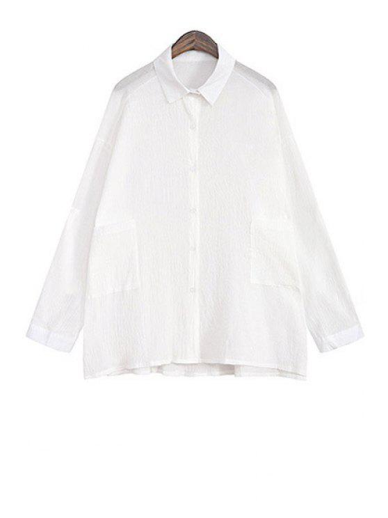 new White Single-Breasted Pocket Linen Blouse - WHITE ONE SIZE(FIT SIZE XS TO M)