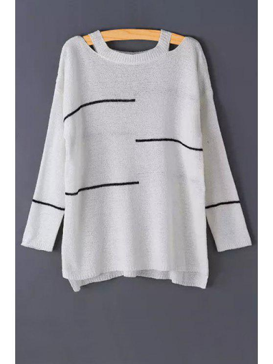 hot Stripes Cut Out Long Sleeve Sweater - WHITE ONE SIZE(FIT SIZE XS TO M)