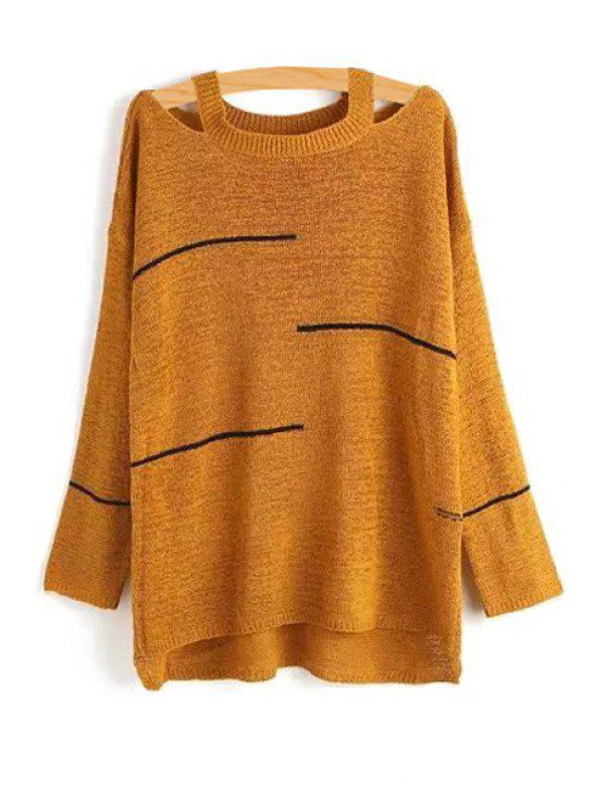 d63a0c59045c shop Stripes Cut Out Long Sleeve Sweater - KHAKI ONE SIZE(FIT SIZE XS TO