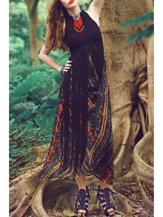 buy Jewel Neck Stripe Floral Print Sleeveless Dress - BLACK XS