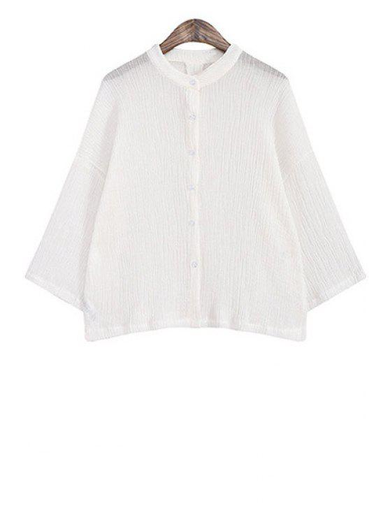hot Single-Breasted Solid Color Pleated Linen Blouse - WHITE ONE SIZE(FIT SIZE XS TO M)