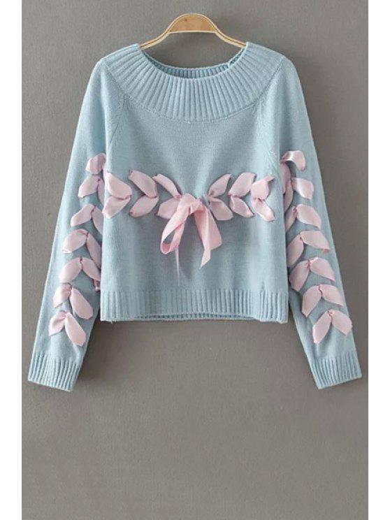 latest Lace Up Jewel Neck Long Sleeve Sweater - BLUE ONE SIZE(FIT SIZE XS TO M)