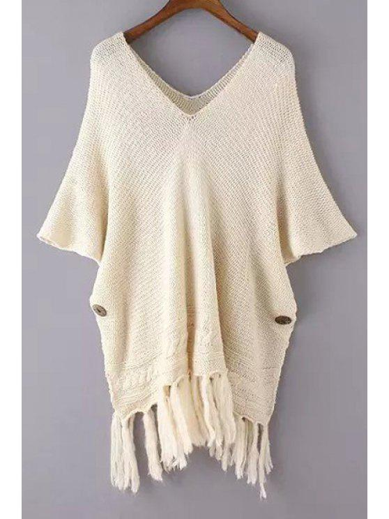 chic Solid Color V Neck Bat-Wing Sleeve Sweater - OFF-WHITE ONE SIZE(FIT SIZE XS TO M)