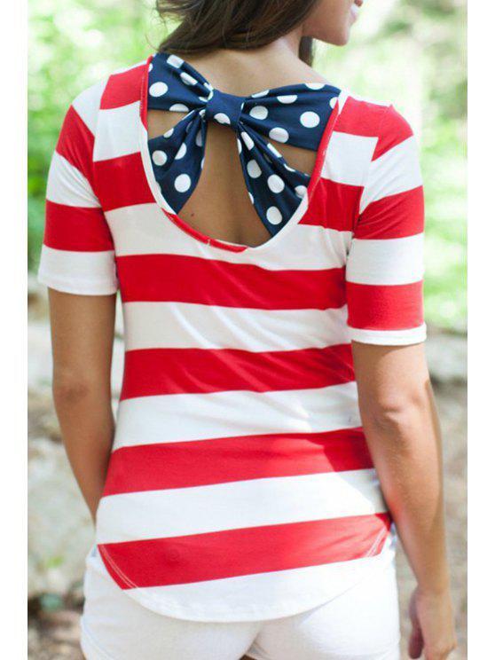 best Jewel Neck Stripe Back Bowknot T-Shirt - RED S