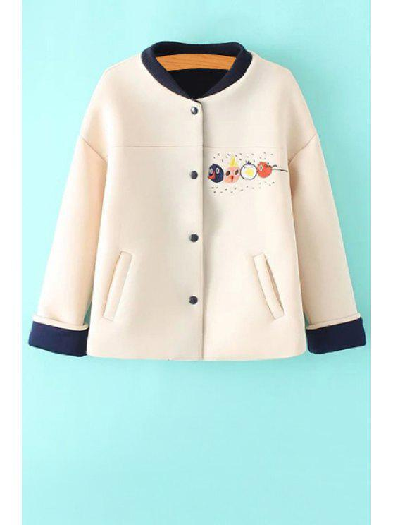 women's Cartoon Embroidery Stand Neck Jacket - OFF-WHITE S