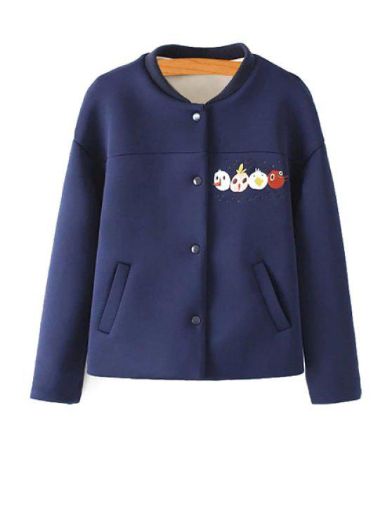online Cartoon Embroidery Stand Neck Jacket - CADETBLUE M