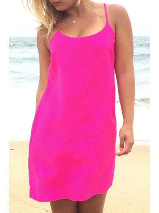 outfits Solid Color Spaghetti Strap Cross Backless Dress - PINK S