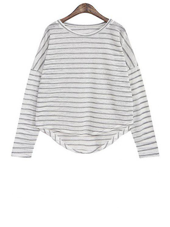 latest Striped High-Low Hem Loose Blouse - GRAY ONE SIZE(FIT SIZE XS TO M)