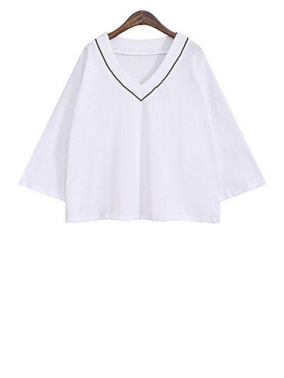 fancy Wide Sleeve Color Block Loose-Fitting Blouse - WHITE ONE SIZE(FIT SIZE XS TO M)
