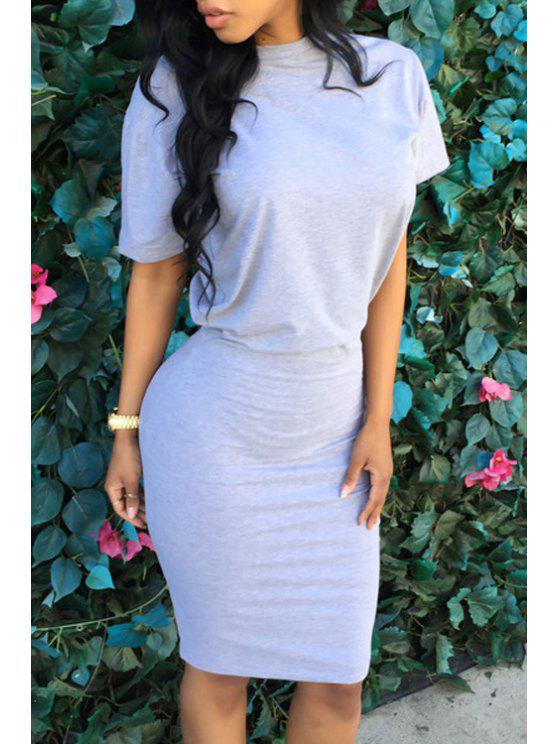 best Pure Color Short Sleeve Bodycon Dress - GRAY XL