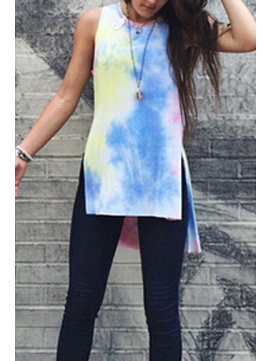 trendy Tie Dye Round Neck Sleeveless T-Shirt - COLORFUL S