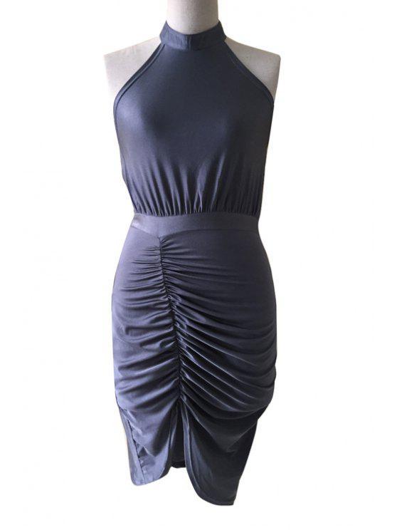 online Halter Neck Backless Ruffle Sleeveless Dress - GRAY S