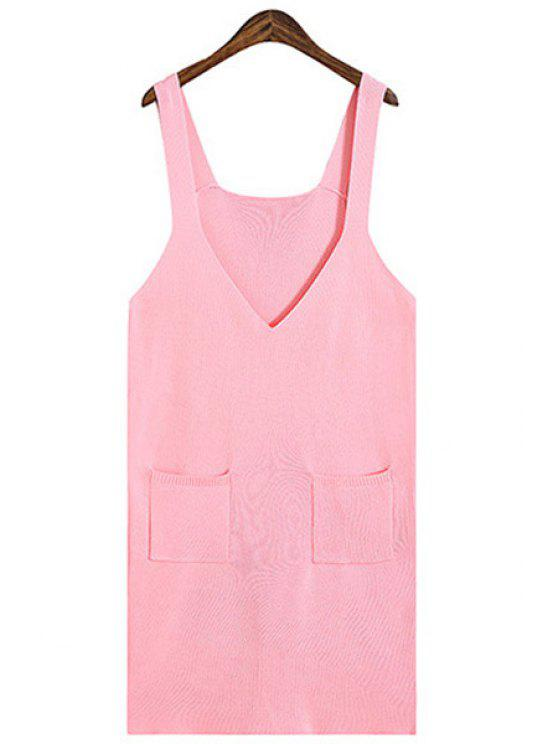 fashion Solid Color Pocket Design Sweater Dress - PINK ONE SIZE(FIT SIZE XS TO M)