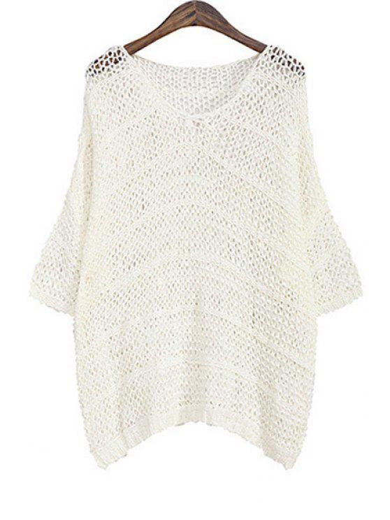 new Solid Color Hollow Out Loose Sweater - WHITE ONE SIZE(FIT SIZE XS TO M)