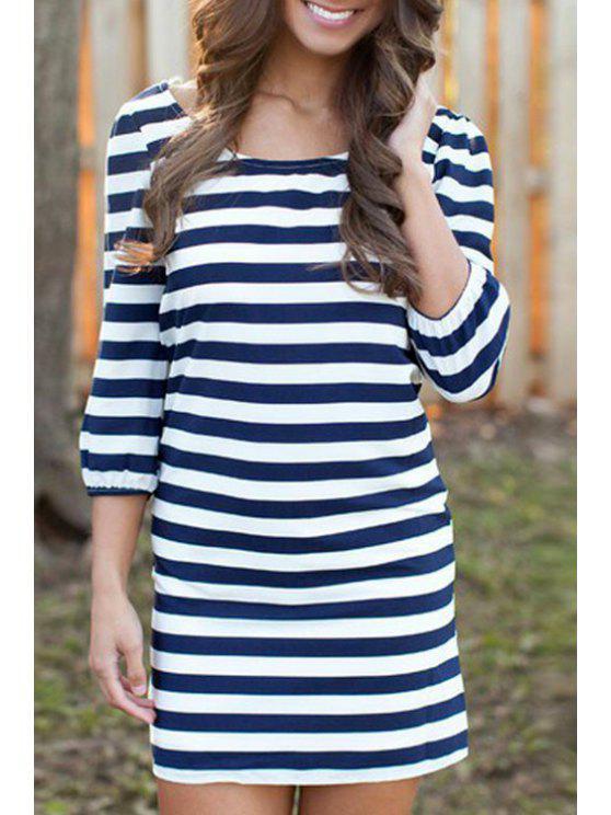 latest Jewel Neck Stripe 3/4 Sleeve Dress - PURPLISH BLUE S