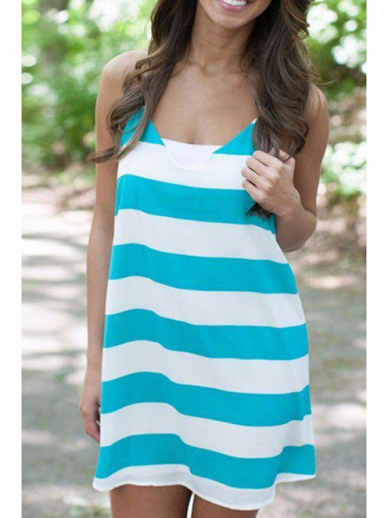 affordable Spaghetti Strap White Green Stripe Dress - GREEN S