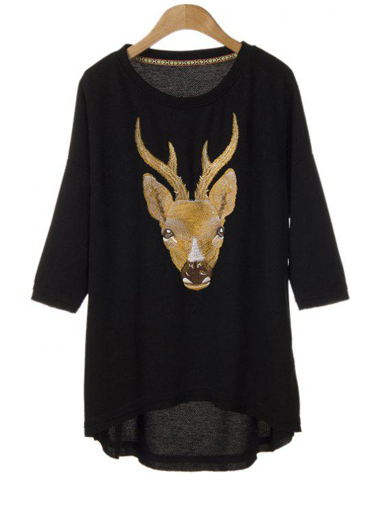 affordable Fawn Head Embroidery High-Low Hem Blouse - BLACK ONE SIZE(FIT SIZE XS TO M)