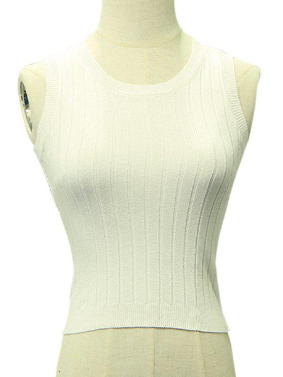 unique All-Match Solid Color Knitted Crop Top - WHITE ONE SIZE(FIT SIZE XS TO M)