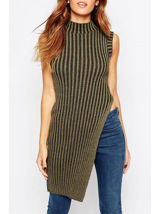 buy Striped Turtle Neck Sleeveless Sweater - COFFEE ONE SIZE(FIT SIZE XS TO M)