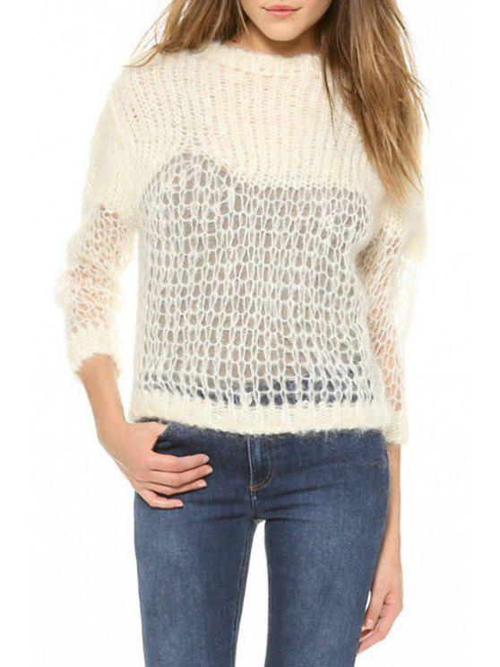 women Round Neck Pure Color Sweater - OFF-WHITE ONE SIZE(FIT SIZE XS TO M)