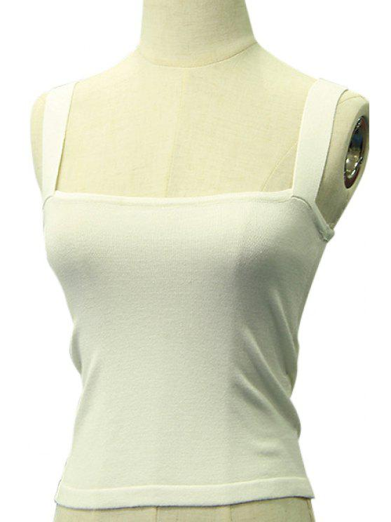 buy Candy-Colored Knitted Tank Top - WHITE ONE SIZE(FIT SIZE XS TO M)