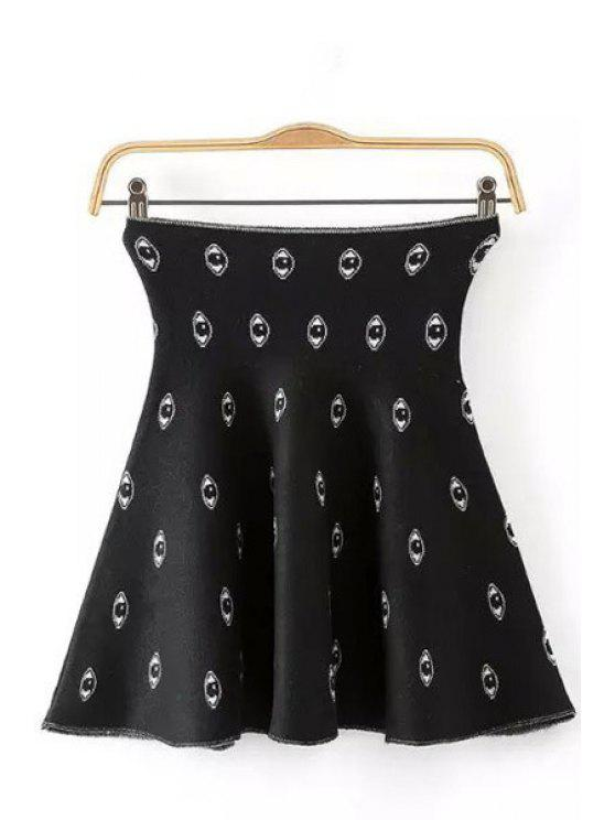 women Eyes Pattern Elastic Knitted Skirt - BLACK ONE SIZE(FIT SIZE XS TO M)