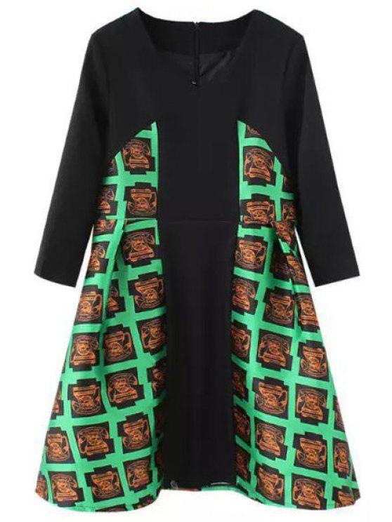 ladies Telephone Print Half Sleeve Dress - BLACK S