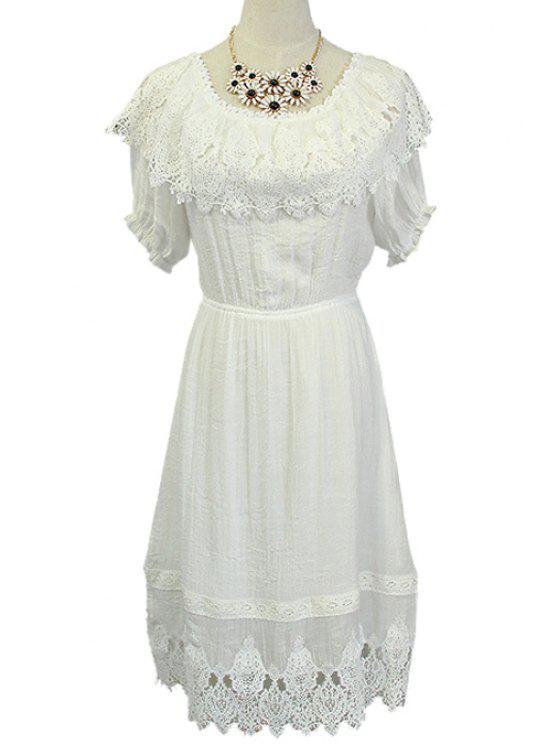 best Lace Spliced Elastic Waist White Dress - WHITE S
