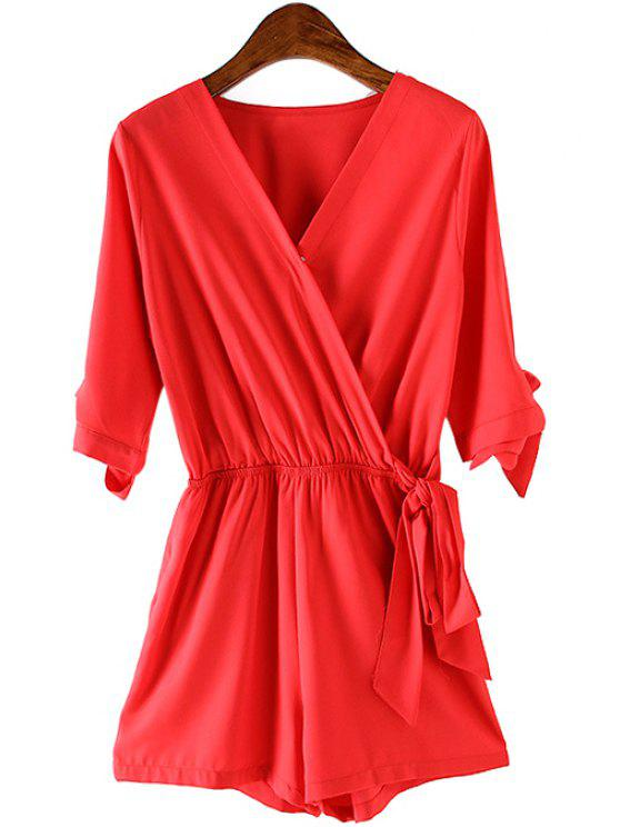 outfits Cross-Over Collar Solid Color Pocket Playsuit - RED M