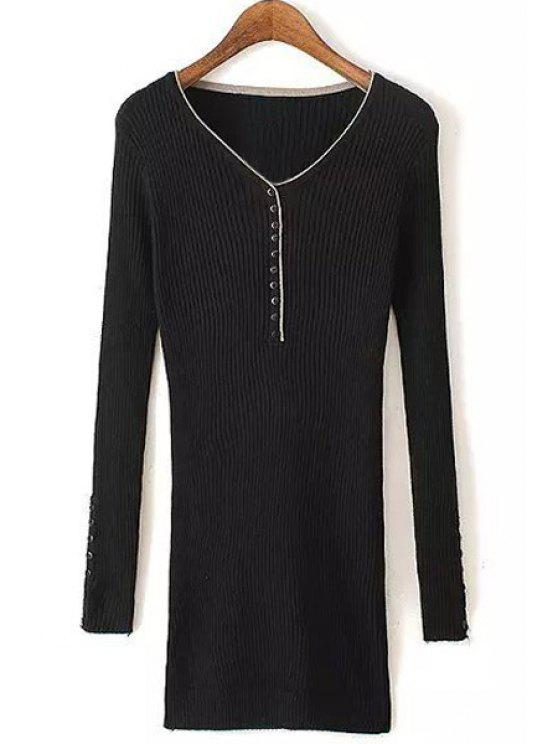 sale Buttons Embellished Long Sleeve Sweater - BLACK ONE SIZE(FIT SIZE XS TO M)