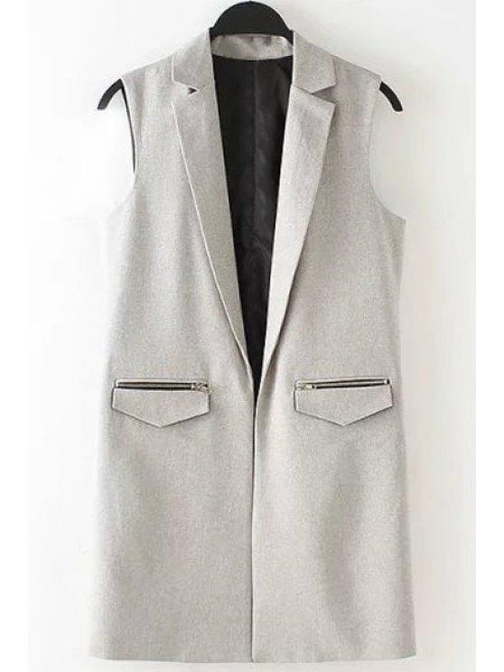 outfit Lapel Zipper Pocket Sleeveless Waistcoat - GRAY S