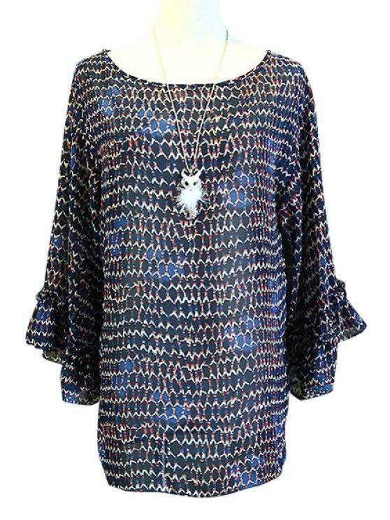 lady Tiny Floral Print Loose-Fitting Chiffon Blouse - BLUE ONE SIZE(FIT SIZE XS TO M)