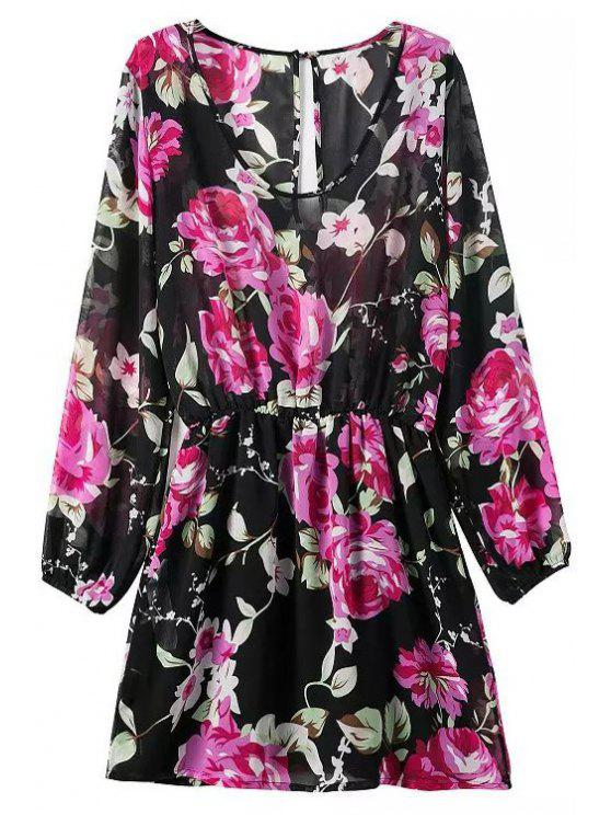 outfit Floral Print Scoop Neck Long Sleeve Dress - BLACK S