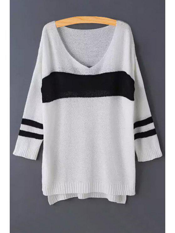 new V-Neck Color Block Stripe Long Sleeve Sweater - WHITE ONE SIZE(FIT SIZE XS TO M)