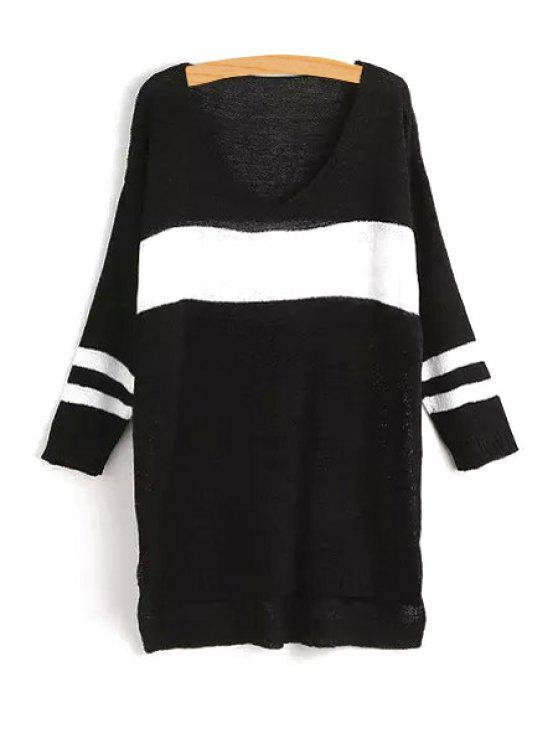 fashion V-Neck Color Block Stripe Long Sleeve Sweater - BLACK ONE SIZE(FIT SIZE XS TO M)