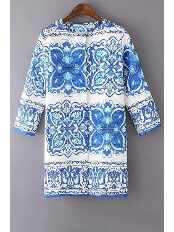 chic Blue Floral Print Long Sleeve Coat - BLUE AND WHITE S