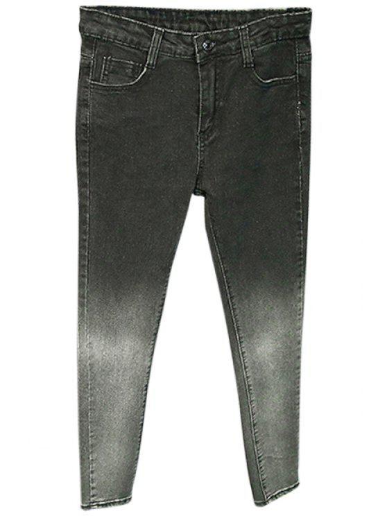 best Ombre Color Pocket Design Pencil Jeans - BLACK 26