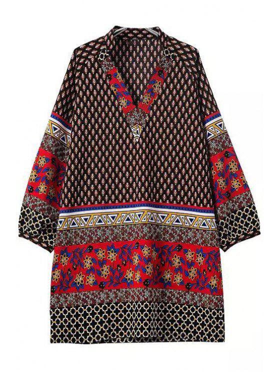 unique Floral Geometric Print Long Sleeve Dress - COLORMIX S
