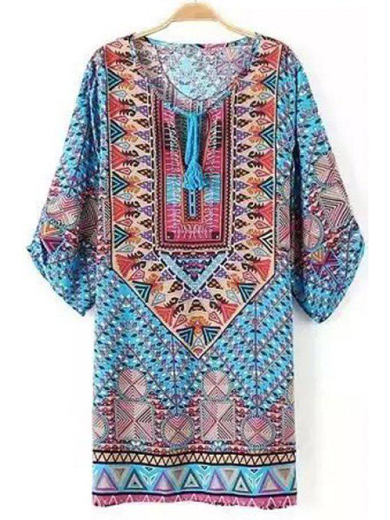 lady Tie-Up Colorful Geometric Print Half Sleeve Dress - COLORMIX S