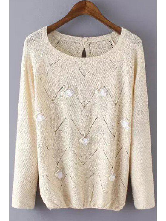 best Stereo Swan Embellished Long Sleeve Sweater - KHAKI ONE SIZE(FIT SIZE XS TO M)