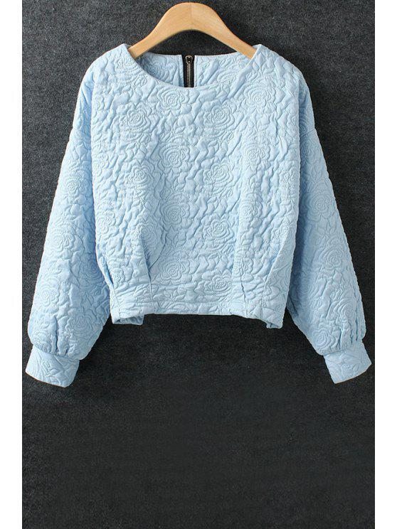 hot Solid Color Flower Pattern Space Cotton Sweatshirt - BLUE L