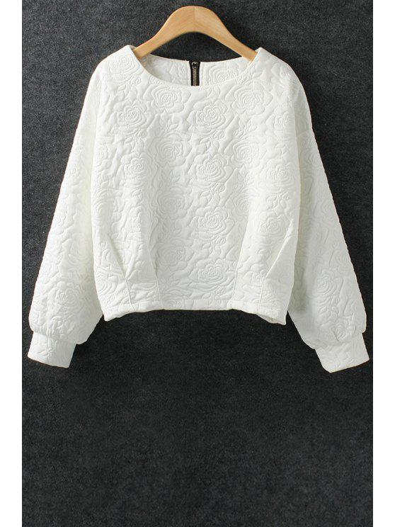 women Solid Color Flower Pattern Space Cotton Sweatshirt - WHITE L