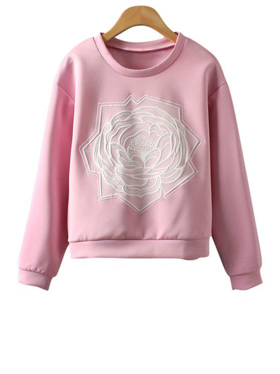 lady Candy-Colored Floral Embroidered Sweatshirt - PINK S